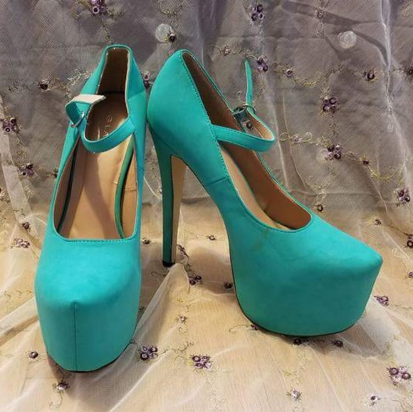 7e0e4549f1 Glaze Shoes | Sea Green Nelly Strap Platform Heels | Poshmark